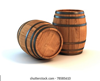 two wine barrels isolated on the white background 3d illustration