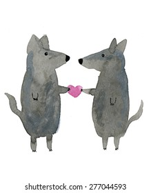Two wolfs in love. Cute watercolor animal illustration.