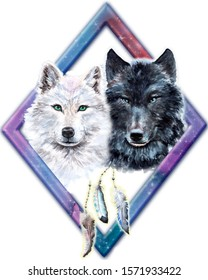 Two Wolves, Couple in Love, Symbol of Faithfulness, Male and Female Wolf, Hand Painted Watercolor Illustration Isolated, Wild Nature Animals, Poster, Ethnic Feathers