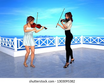 Two women playing volins on terrace by the sea. 3D rendering.