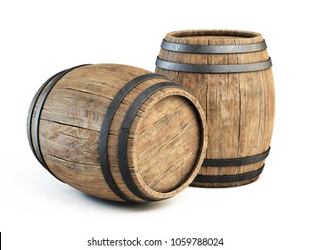 Two wooden barrels isolated on white background 3d illustration