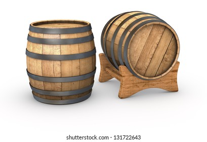 two wooden barrels on white background (3d render)