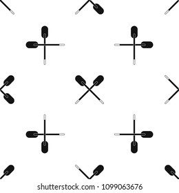 Two wooden crossed oars pattern repeat seamless in black color for any design. geometric illustration