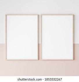 two wooden frames on pink and white wall, frame mockup, 3d render, 3d illustration