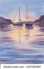 Two yacht boats boats and mountains reflected in calm water. Early morning at lake - watercolour on paper. Sailboat lough in the summer evening, last sun rays. Colorful bay at seaboard waterside view