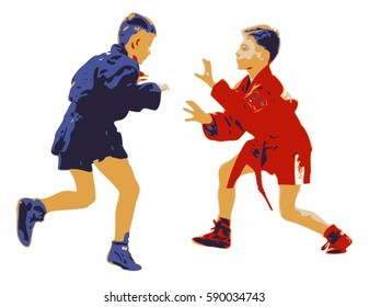 Two young boys competing in a sport sambo contest. Illustration isolated on white background. Red and blue combat garments. Concept for self defense technique, martial arts and physical fitness.
