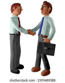 Two young men shaking hands. Handmade with plasticine. Isolated on white background – Illustration 3D