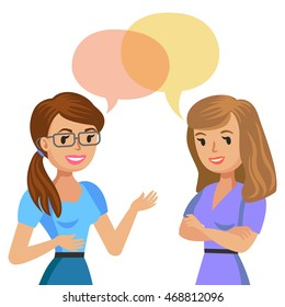 Two young women talking. Meeting colleagues or friends.