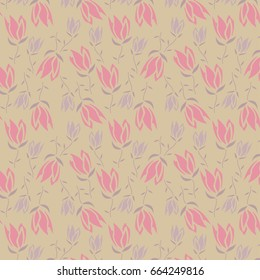 Two-Directional Repeat Pattern - Floral Print Pattern in Pink, Purple, Cream