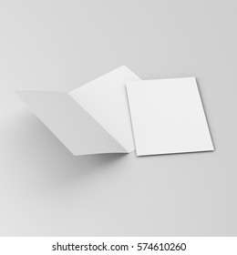Two-leaf brochure or leaflet. 3D rendering