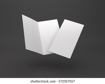 Two-leaf flyer mock-up template on dark background. 3D Rendering