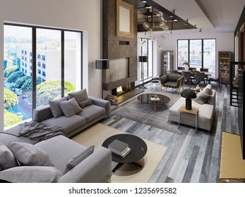 Two-level living room apartment with dining area and tv area and large fireplace in loft style. 3d rendering.