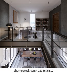 Two-level loft-style interior with a living room and dining area and transitions co glass railing to the library area on the second floor. 3d rendering.