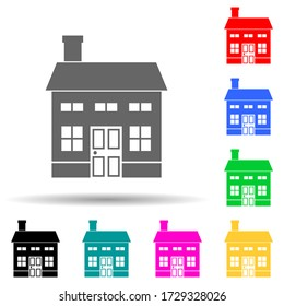 two-storey house multi color style icon. Simple glyph, flat illustration of house icons for ui and ux, website or mobile application