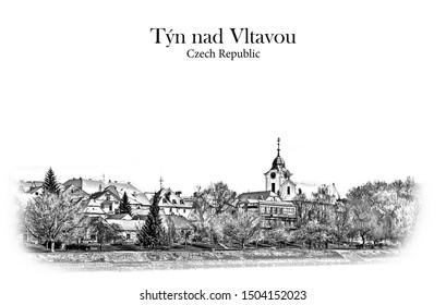 Tyn nad Vltavou, Czech Republic - Vintage travel sketch.