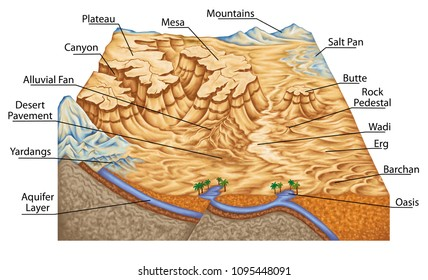 types of continental landform, desert landforms, plateau, canyon, salt pan, barchan, physical geography, geography, geophysics, geomorphology, geology, landform, topography