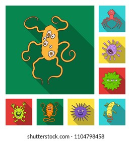 Types of funny microbes flat icons in set collection for design. Microbes pathogenic bitmap symbol stock web illustration.