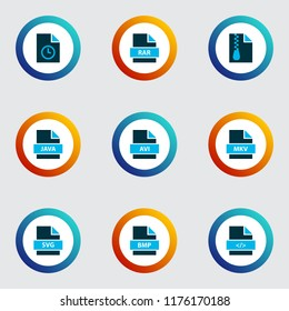 Types icons colored set with file svg, file rar, file archive and other programming language elements. Isolated  illustration types icons.
