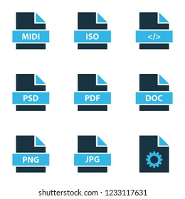 Types icons colored set with text, file pdf, file png and other setting elements. Isolated  illustration types icons.