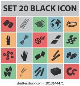 Types of pasta black icons in set collection for design. Figured macaroni for eating bitmap,  symbol stock web illustration.