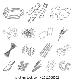 Types of pasta outline icons in set collection for design. Figured macaroni for eating bitmap symbol stock web illustration.