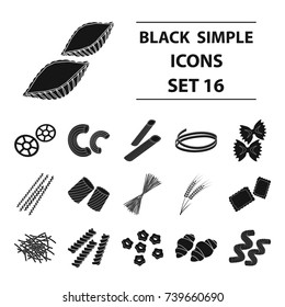 Types of pasta set icons in black style. Big collection of types of pasta bitmap,raster symbol stock illustration