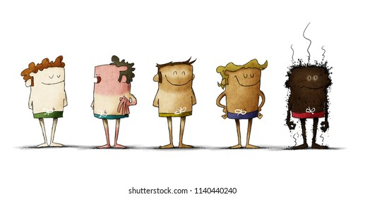 types of skin under the effects of the sun. five people with different skin color. Funny illustration about the importance of sun protection. isolated
