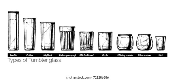 Types of tumbler glass. hand drawn illustration of tumblers in vintage engraved style. isolated on white background.