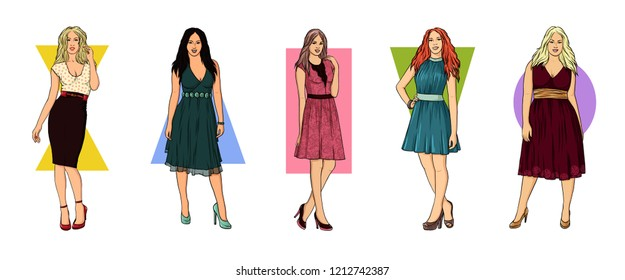 Types of woman figures. Set of Female Body Shape Types: Hourglass, Pear, Rectangle, Triangle, Oval.