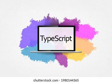 TypeScript Programming Language. Word TypeScript on laptop