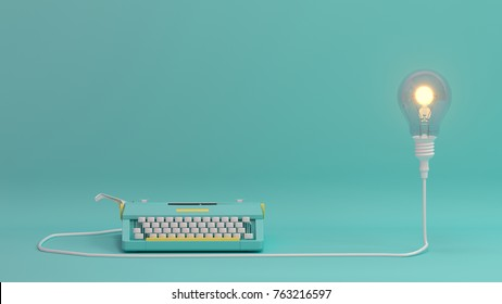 typewriter with light bulb  lighting on valentines day on the table colorful in front of lovely wall  picture for copy space minimal object concept pastel colorful lovely art  3D illustration