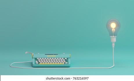 打字机带灯泡照明情人节在桌子上彩色可爱壁画前复制空间最小物体概念柔和多彩可爱艺术 3D 插画