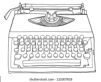 Typewriter old b&w art painting,cute hand drawn line art illustration
