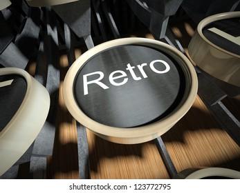 Typewriter with Retro button, vintage style