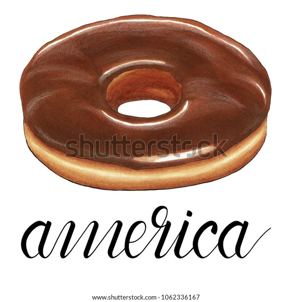 Typical american pastry isolated on white background. Hand drawn illustration of glazed chocolate donut.