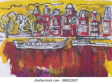 typical Amsterdam, painting by ink,oil pastel