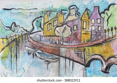 typical Amsterdam, painting by ink,oil pastel and paper collage