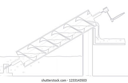 A typical Archimedes screw water pump line drawing over a white background