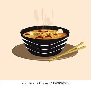 typical Asian dish. ramen soup - noodles