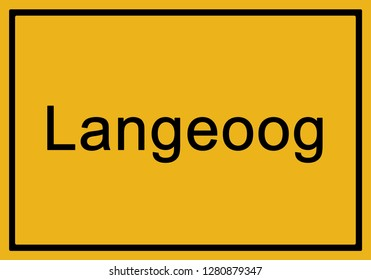Typical german yellow city sign Langeoog