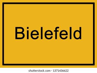 Typical german yellow city sign Bielefeld