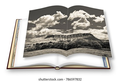 """Typical Irish landscape with the Ben Bulben mountain called """"table mountain"""" for its particular shape (county of Sligo - Ireland) - 3D render photo book"""