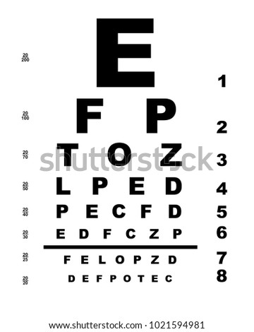 Typical Opticians Eye Test Chart Over Stock Illustration 1021594981