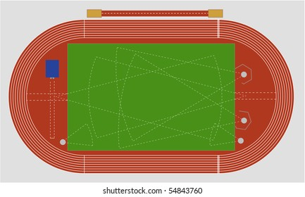 A typical track and field ground showing the different areas.