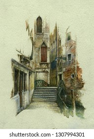 Typical Venetian cityscape, miniature painting, acrylic on paper