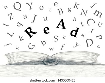 Typographic montage of a pencil sketch and alphabetic characters flying out of the book. The letters in the center are forming the word read.