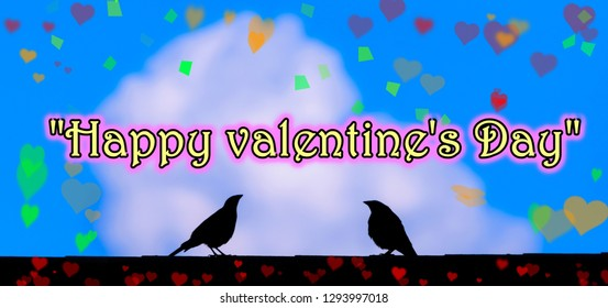 Typography: Beautiful and colorful banner style Happy Valentine's Day picture with two love birds on roof surrounded by hearts and a blue shy background with fluffy clouds Holiday photography.