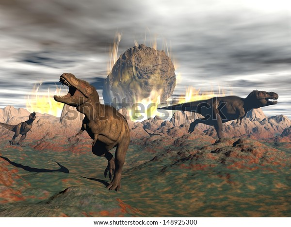 Tyrannosaurus dinosaurs escaping or dying because of heat and fire due to a big meteorite crash