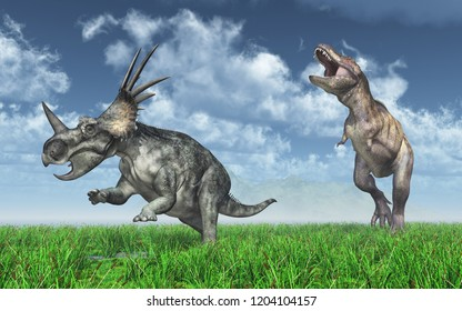 Tyrannosaurus Rex attacks Styracosaurus Computer generated 3D illustration
