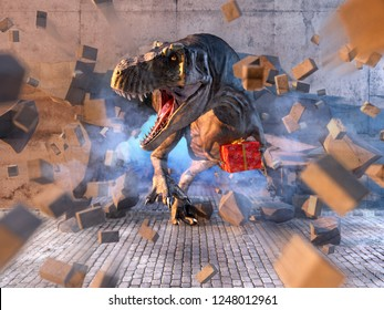 Tyrannosaurus Rex dinosaur holding red wrapped christmas gift box breaking through the wall. Funny merry christmas or new year greeting card concept. Clipping path included. 3D illustration.
